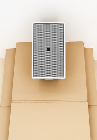 Modern loudspeaker is hanging on the wall of theater.