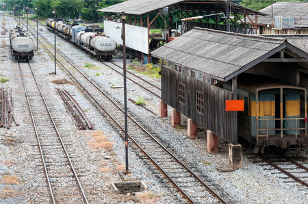 Railway yard of the station in the northern of Thailand