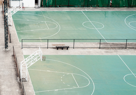 big game: Empty basketball field in the town of Thailand  Stock Photo