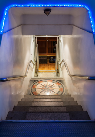 Luxury staircase to the  entrance of travel yacht