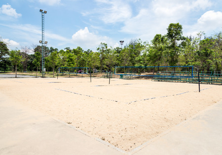 Beach volleyball field in the urban park  photo
