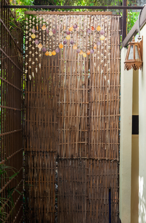 Bamboo weave partition of the natural house in Thailand  photo