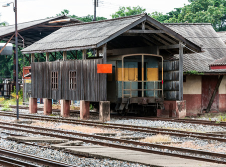Weighing house for freight train in the station photo