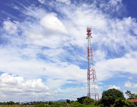 Telecommunication tower in the countryside of Thailand. Stock Photo