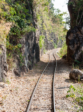 defile: Defile railway line near the high mountain. Stock Photo