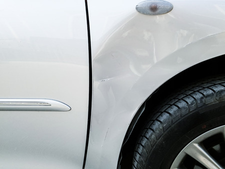 automobile door: Crash side of the accident in highway. Stock Photo