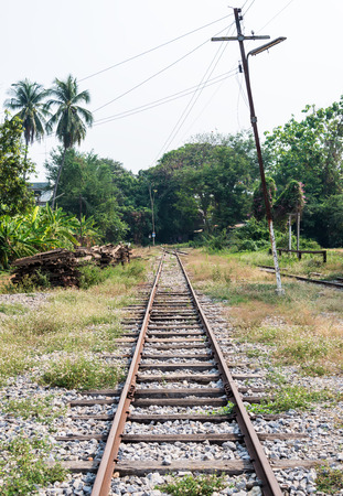 end of the line: End of old railway line in northern of Thailand. Stock Photo