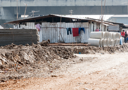 Temporary house of workers on the construction site in Thailand. Stock Photo
