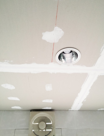 Unfinish ceiling of the modern kitchen. photo