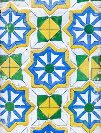 temple: Ceramic mosaic tile on the wall of Thai temple. Stock Photo