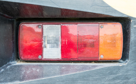 taillight: Old taillight of the industrial truck.