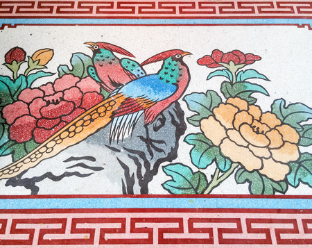 thai style: Peacock painting in traditional Chinese style of the Thai temple.