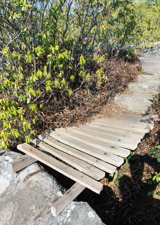 brige: Small wooden brige of the nature trail on the rock mountain . Stock Photo