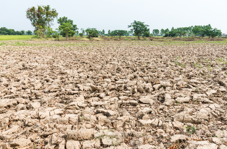 plough land: Barren ground was plowed by farmer for cultivation in the countryside of Thailand. Stock Photo