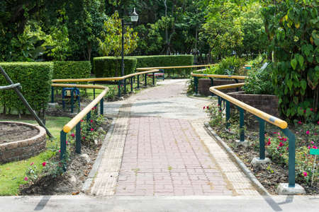 handrails: Stone tile pathway with metal handrails in the botanical garden.
