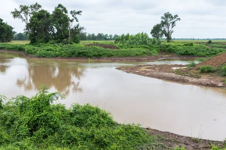farming area: Irrigation canal for ues in the farming of local area,Thailand.