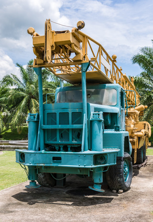 Old drill hole car for take the explode in the large mine which show in the park.(Public area not required Property Release) Stock Photo
