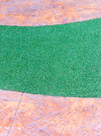 artifical: Artifical grass strip in the stone pathway of the small garden