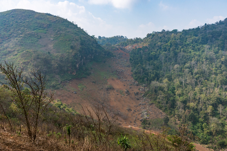 soil erosion: Landslide from the  top of the high moutain in the national park.