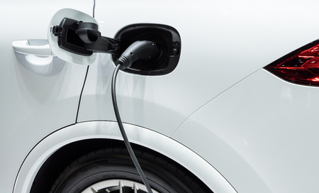 recharging: Modern electrical plugs for recharging to the electric vehicles. Stock Photo