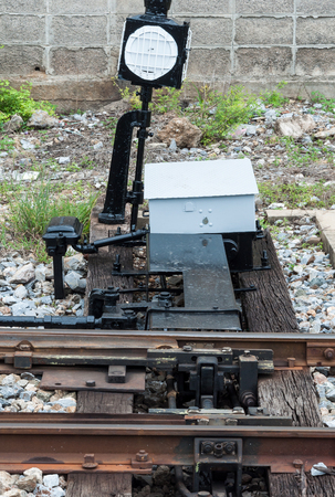 Mechanism control set for switching the railway line in the urban station of Thailand.