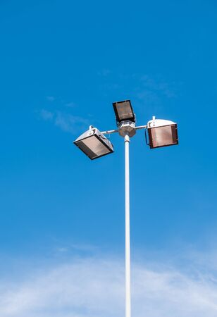Led lamp pole under the clear blue sky for use in the urban park.