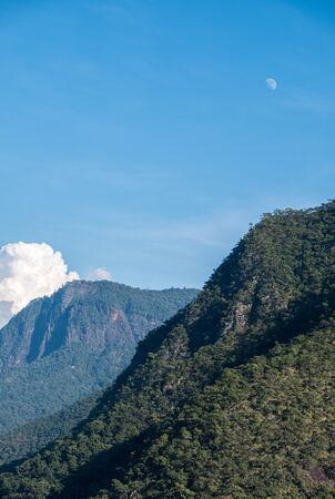 High mountain range with the rain forest in the national park, evening time with the moon