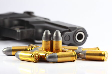 hand gun: gun and bullet Stock Photo
