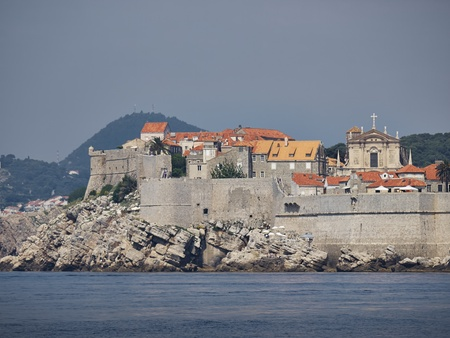 ignacio: Dubrovnik city wall front view from the sea Stock Photo