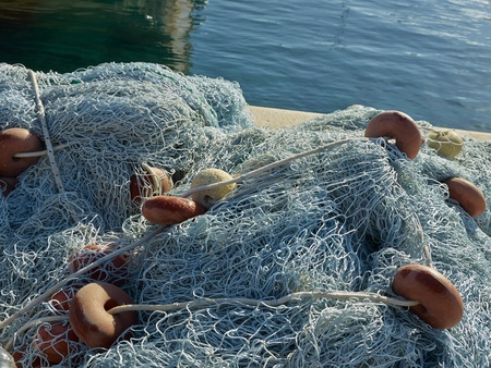 Blue fishing nets  photo