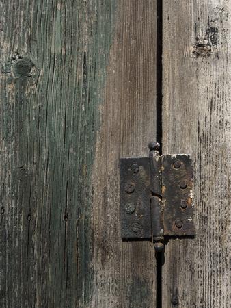 hinge: old rusty hinge on green wooden door