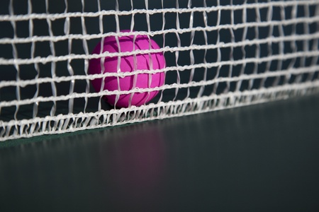 Pink table tennis table in net