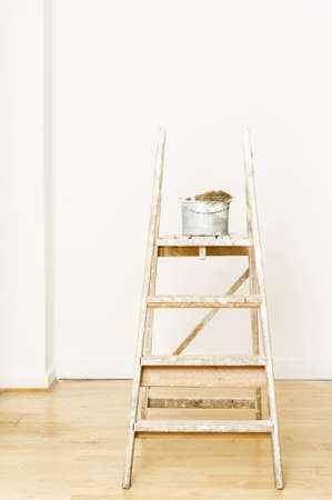 redecoration:  painter and decorator s ladder Stock Photo