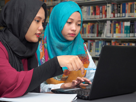 Two students studying in a library Stok Fotoğraf