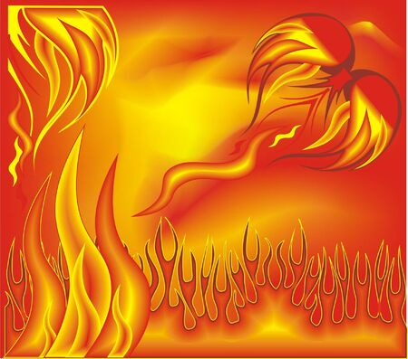 Vector background with of roads - orange flames  Illustration