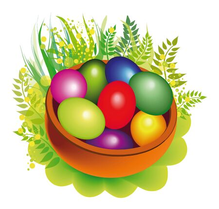greenness: easter eggs brown basket among greenness