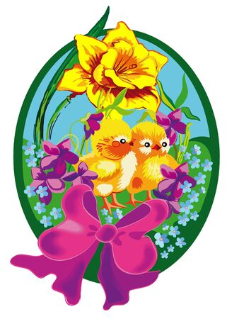 easter of egg with two chickens in spring flowers photo