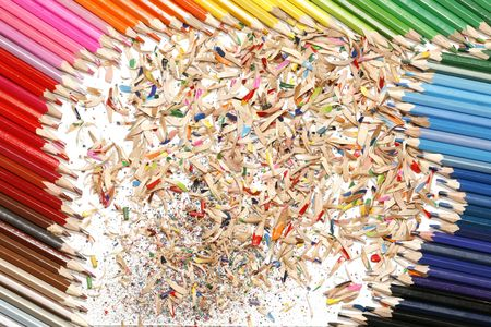 sharpen: sharpen colourful colored pencil, wooden dust