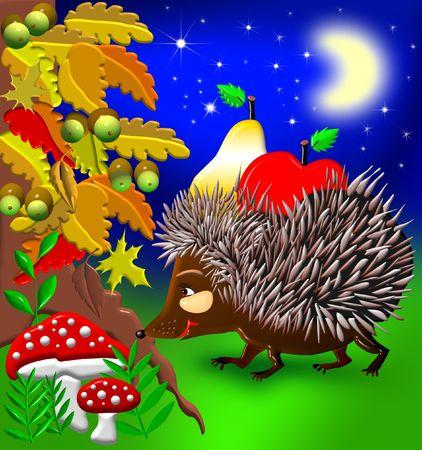 Hedgehog found some fruit and mushroom. photo