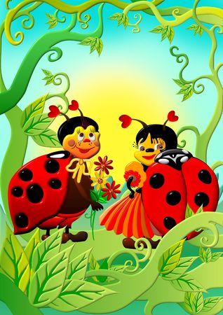 Little and happy cartoon ladybug, having an affair in the garden