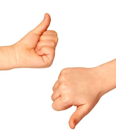 Two hands with thumbs up and down on white background Stock Photo - 3521745