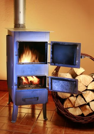 Old fashioned wood burning stove  photo