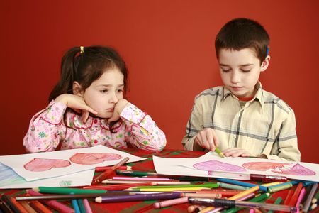 malaise: hand-made greetings card of school children drawing hearts instead of doing homework