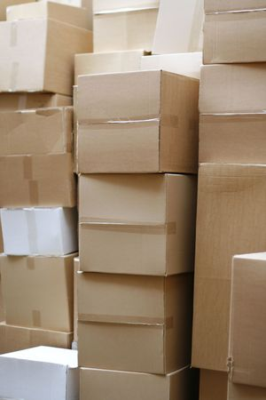 overproduction: stockpile and paper carton stock Stock Photo