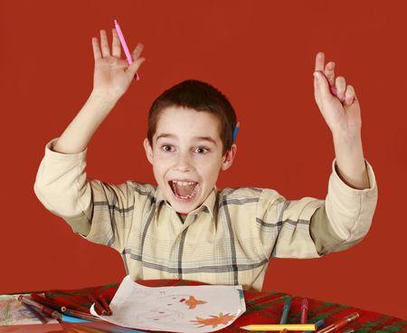 euforia: pecoso ni�o dibujo, BrainWave y euforia, grito de alegr�a