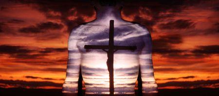repent: man prays, shadow of cross, belief in Christ