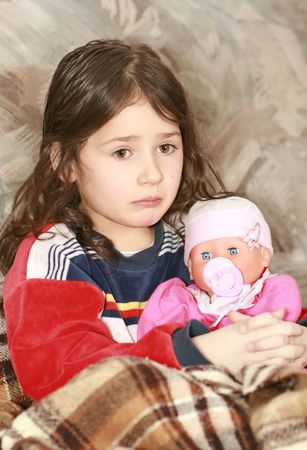 cheerless: Sadness girl with her doll