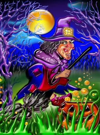 bewitched: Halloween post-card, witch brewing infusion