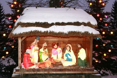 Night shot of a Nativity Scene, Three Kings bow, Three Wise Men Stock Photo