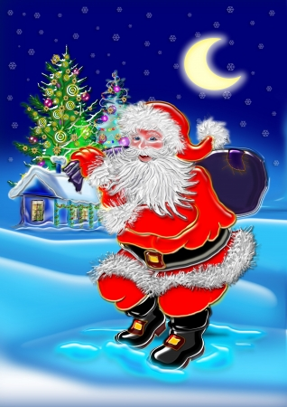 Happy Santa Claus on snowfall background